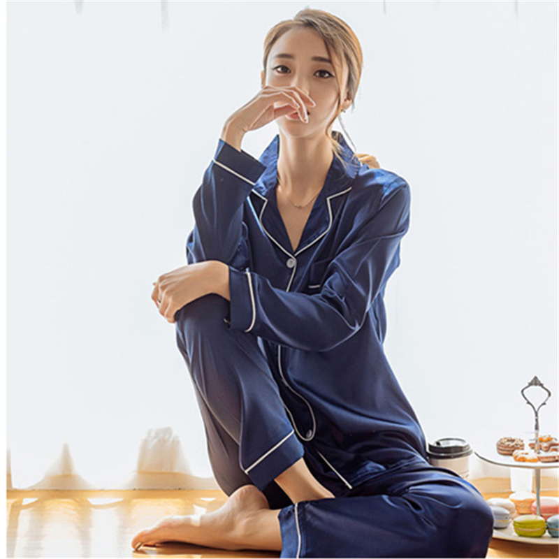 Spring Autumn Loose Silk Satin Women Sleepwear   Pajamas     Set   Striped Single-breasted Tops and Long Pant Two Piece   Sets