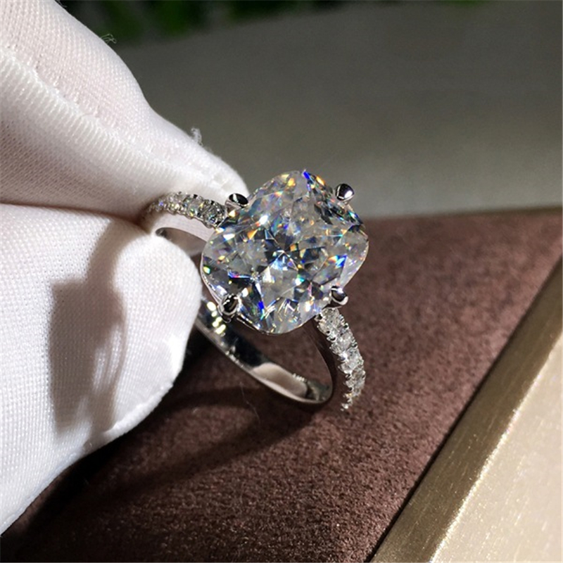 925 Silver Color Princess Square Diamond Ring Luxury Anillos Gemstone white Topaz 925 Jewelry 1 carat diamond Ring for Women