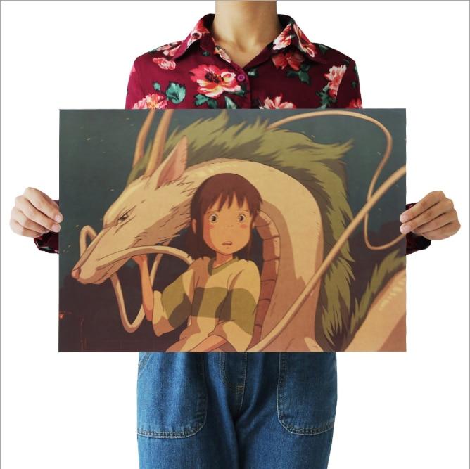 Spirited Away Poster vintage Classic Anime Cartoon Kraftpapier Poster Schilderij Muurstickers Home Decoratieve wall art