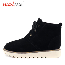 HARAVAL New Fashion Winter Woman Ankle Boots Luxury  Flock Round Toe Thick Heel Shoes Solid Lace-up Casual Warm Snow B265
