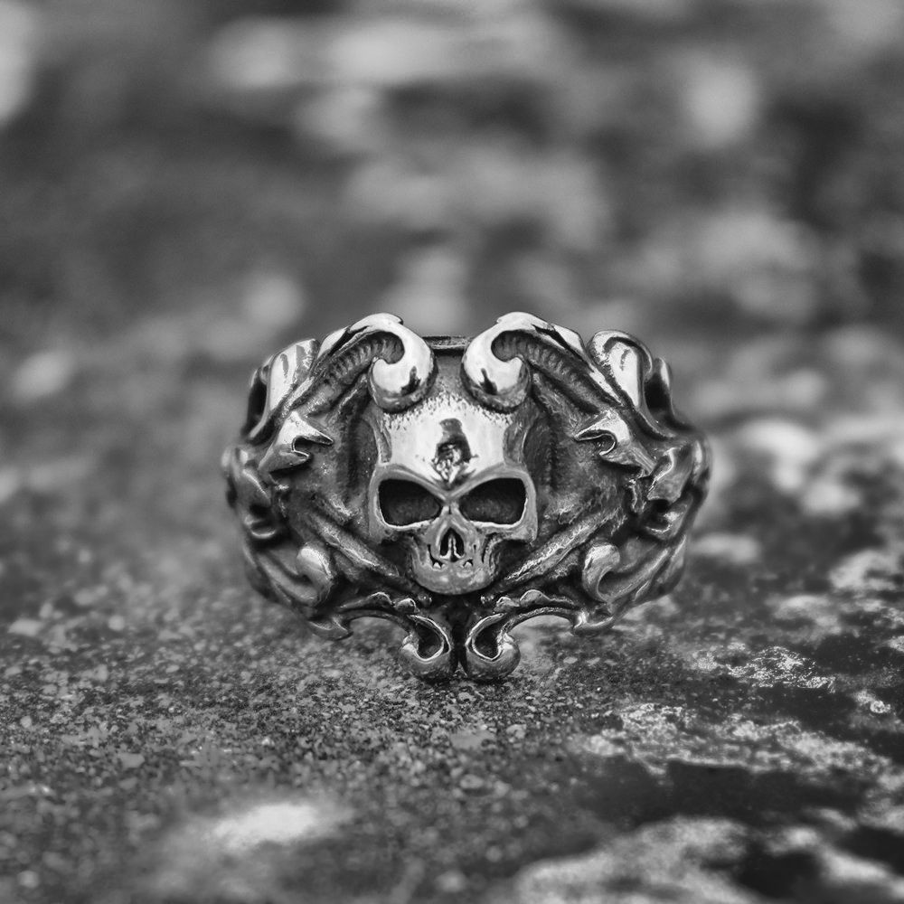 EYHIMD Gothic Silver Vine Pirate Skull Rings Mens Biker Stainless Steel Ring Women Punk Rock Jewelry