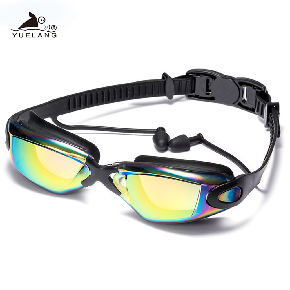 Swimming Goggles Swimming Ear Plugs Professional Waterproof Glasses HD Anti-Fog UV Silicone Glasses Electroplate Clear Goggles