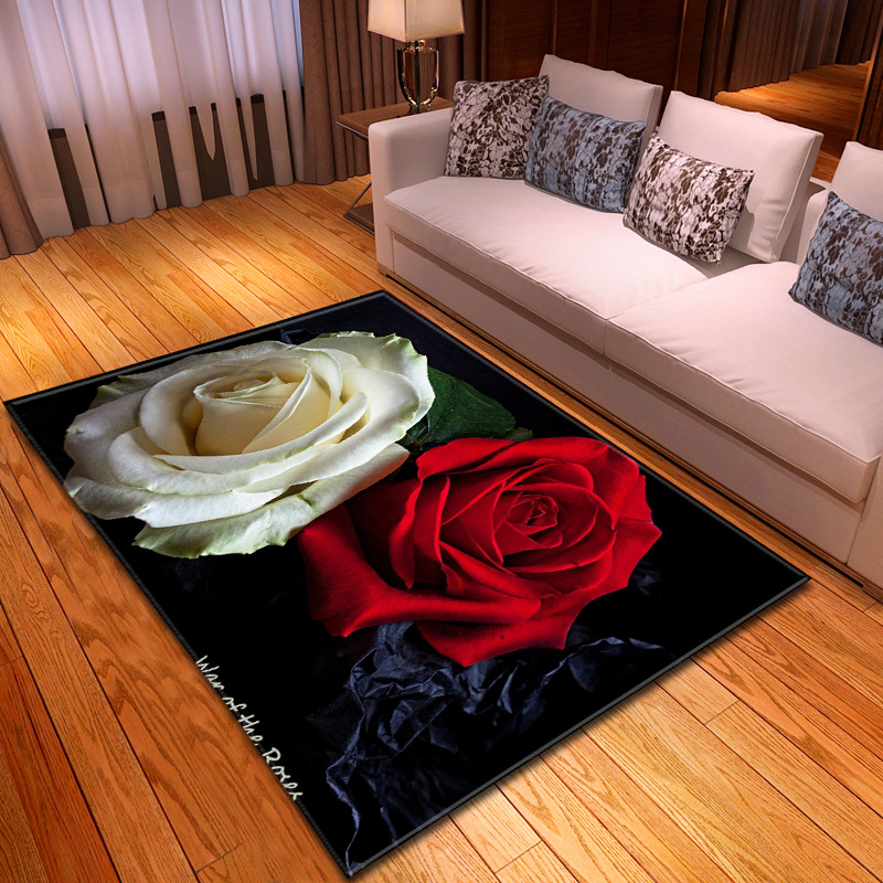 European Valentine's Day Large Carpets For Living Room Bedroom Area Rugs 3D Printing Rose Flowers Pattern Carpet Home Floor Mats