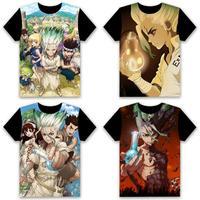 Fashion Anime T shirt Dr STONE Ishigami Senku Shishio Cosplay Short Sleeve Tops Unisex Casual