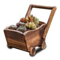 Carbonized Wooden Cart Flower Pot Succulent Plant Potted Bonsai Planter Home Garden Decoration