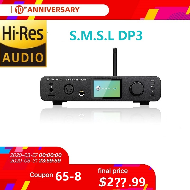 SMSL DP3 Hi-Res Balanced  Digital Player ES9018Q2C DAC 32Bit Two-way Bluetooth 4.0/WIFI DLAN Input DSD USB/Coaxial