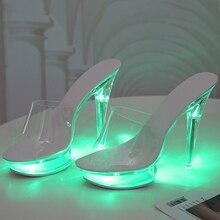 2020 Sandals Women Peep Toe Light Up Transparent High Heel Wedding Sandalias Ele