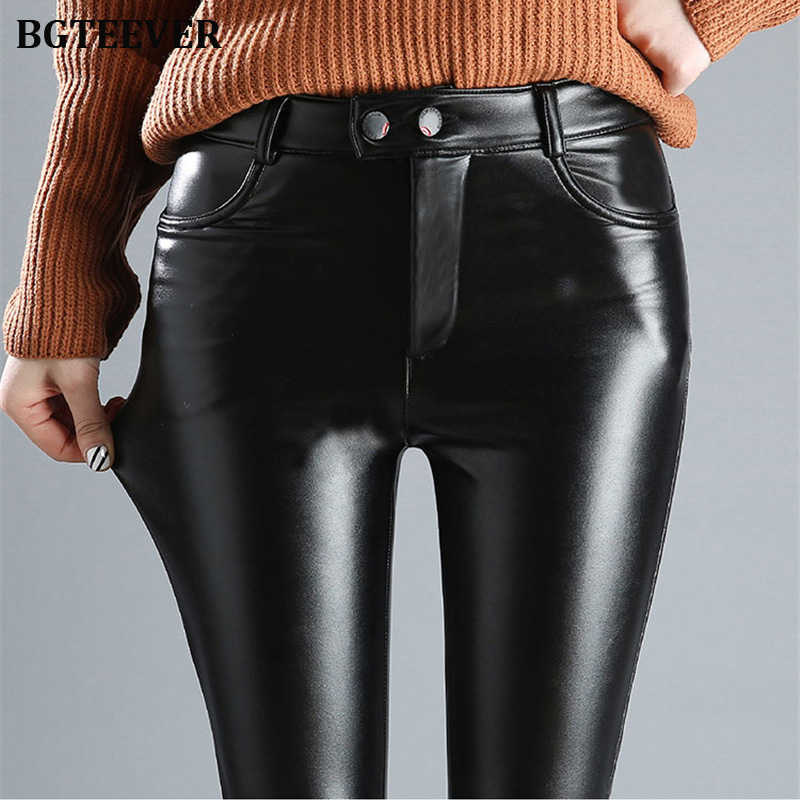 BGTEEVER 2019 Winter Black Thick Pu Leather Pants Womens Elastic Long Velvet Pants Female Skinny Faux Leather Trousers Femme