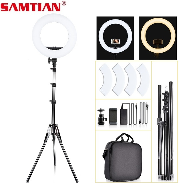 SAMTIAN ring light 14 inch ring lamp dimmable 384PCS LED lighting With tripod for Studio photography YouTube makeup ringlight