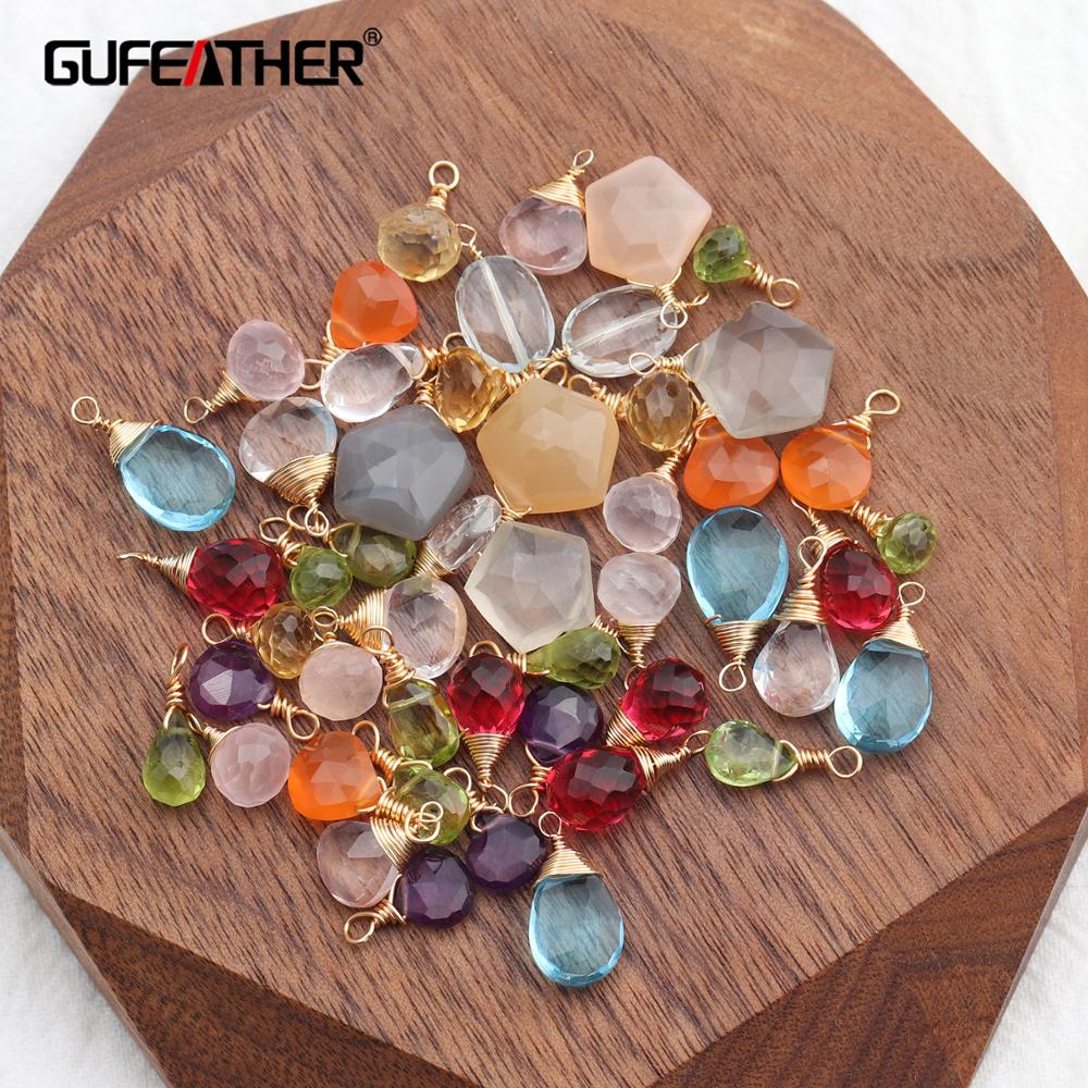 GUFEATHER M639,natural Crystal Quartz,jewelry Accessories,18k Gold Plated,handmade,diy Earrings Pendant,jewelry Making,6pcs/lot