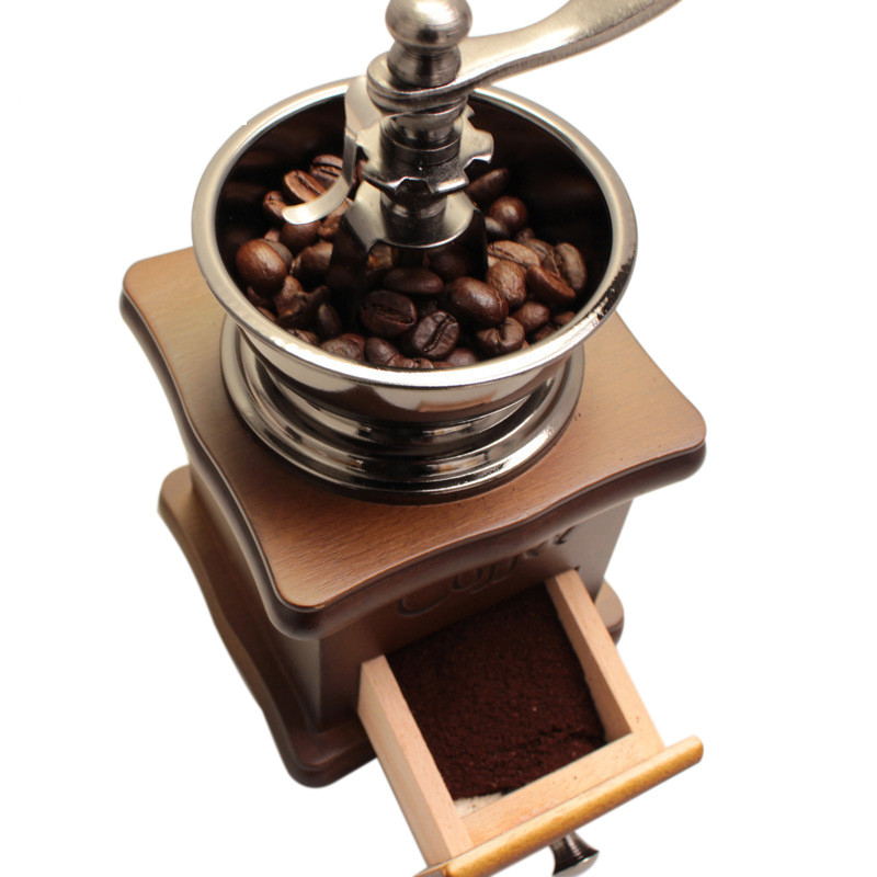 High Quality Classical Wooden Manual Coffee Bean Grinding Stainless Steel Retro Coffee Spice Mini Burr Mill Wheel Machine