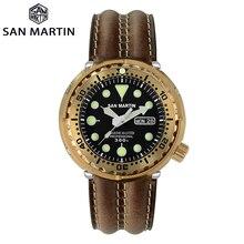 San Martin Diver Tuna Bronze Automatic Mechanical Men Watch Leather Strap Sapphire Luminous 300M Waterproof Calendar Windows