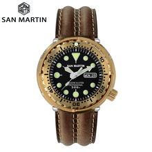 San Martin Diver Tuna Bronzeผู้ชายอัตโนมัตินาฬิกาสายหนังSapphire Luminous 300Mกันน้ำปฏิทินWindows