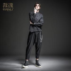 Image 2 - Free shipping Soul spring new mens dark black irregular cotton long sleeved shirt BC193113390