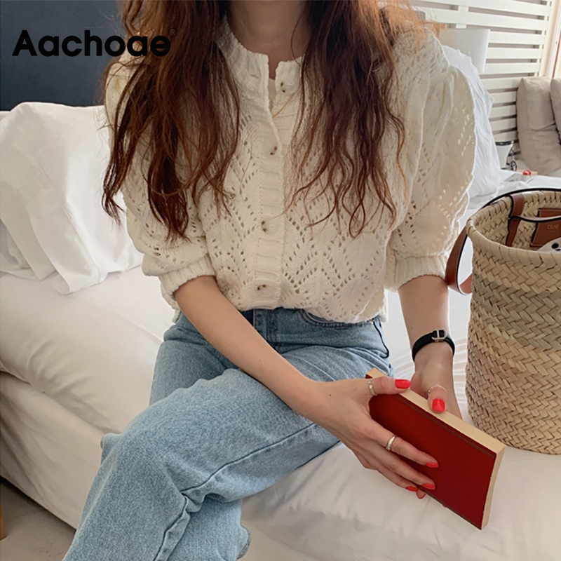 Aachoae Knitted White Blouse Women 2020 Hollow Out Puff Half Sleeve Female Chic Shirt Cardigan Blouse Outerwear Blusa Feminina