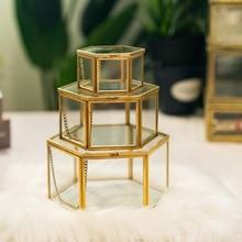 Caja de almacenamiento, joyero de cristal geométrico Vintage, pendiente Retro, caja de exhibición de plantas y flores, caja organizadora de maquillaje para bodas