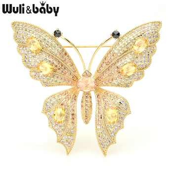 Wuli&baby Luxury Cubic Zircon Butterfly Brooches Women Top Quality Czech Rhinestone Insect Weddings Banquet Brooch Pins Gifts - DISCOUNT ITEM  25% OFF All Category