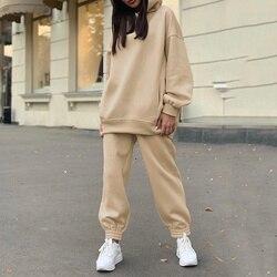 Women's Tracksuit Casual Fleece Two Piece Sets Oversized Hooded Long Sleeve Female Hoodie Suit Winter Sport Pants Ladies Set
