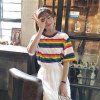 2019 Hot T-Shirt Women Summer New Fashion Korean Version Rainbow Color Stripes Casual Loose Wild Half-Sleeved T-Shirt Female