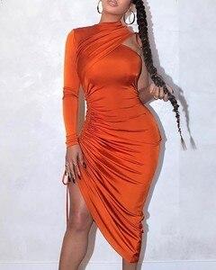 Feminino sexy irregular manga longa um ombro com cordão ruched vestido 6 cores