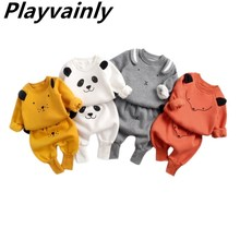 Wholesale Autumn Winter New Baby Sets Girls Boys Cotton Hoodie+Harem Pants Animal Thick Suit Clothing Newborn Baby Clothes E8163