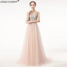 Sexy Evening Dress 2019 V-Neck Beads Open Back A Line Long Dresses Party Vestido De FestaTulle Prom Gowns