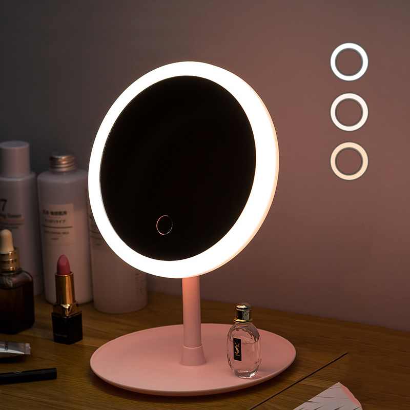 Diodo emissor de luz maquiagem espelho de armazenamento led espelho de rosto ajustável toque dimmer usb led espelho de vaidade mesa espelho de cosméticos