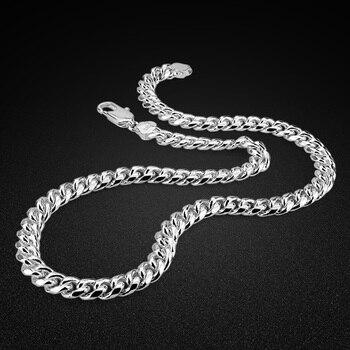 Hip Hop Men's 925 Silver Necklace-Classic Cuban Chain 10MM56-66CM-Sterling Silver Necklace-Men's Italian Silver-Body Jewellery