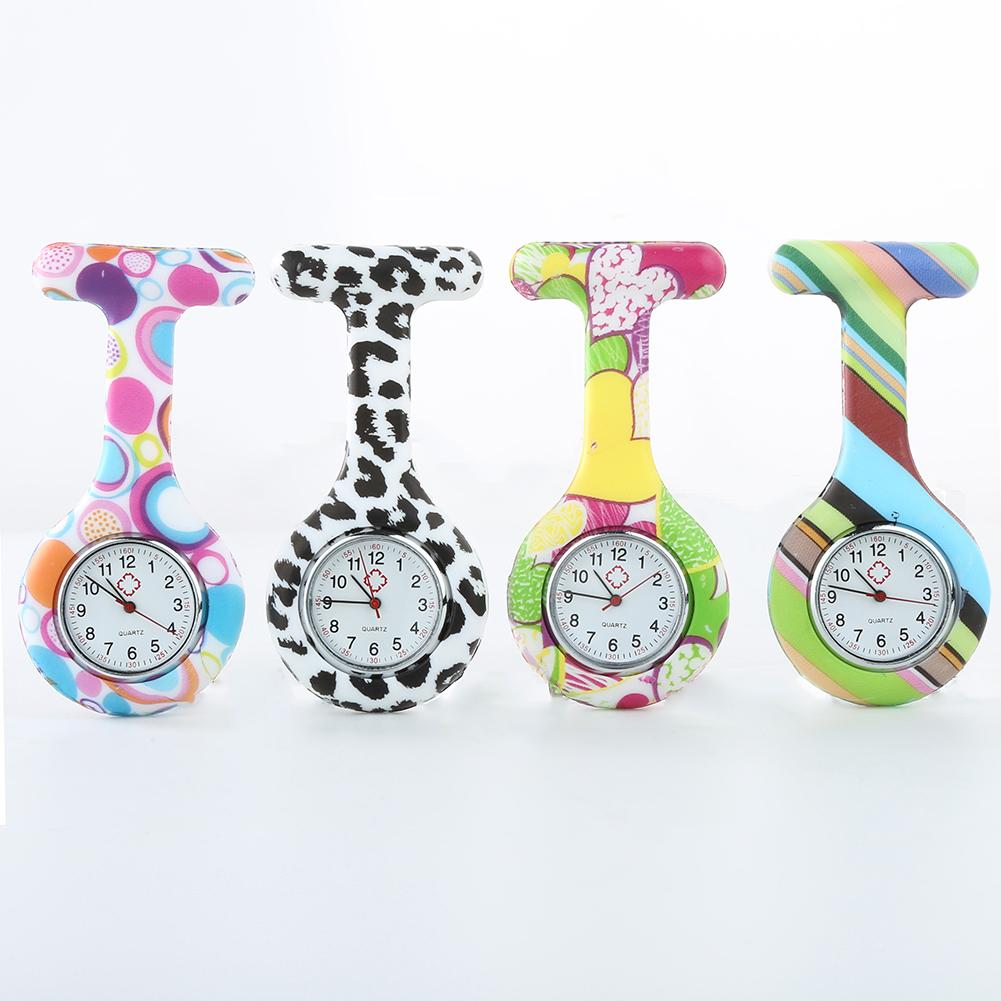 Casual Silicone Nurse Watch Multicolor Pattern Arabic Numerals Round Dial Silicone Nurses Brooch Tunic Fob Watches Pocket Watch