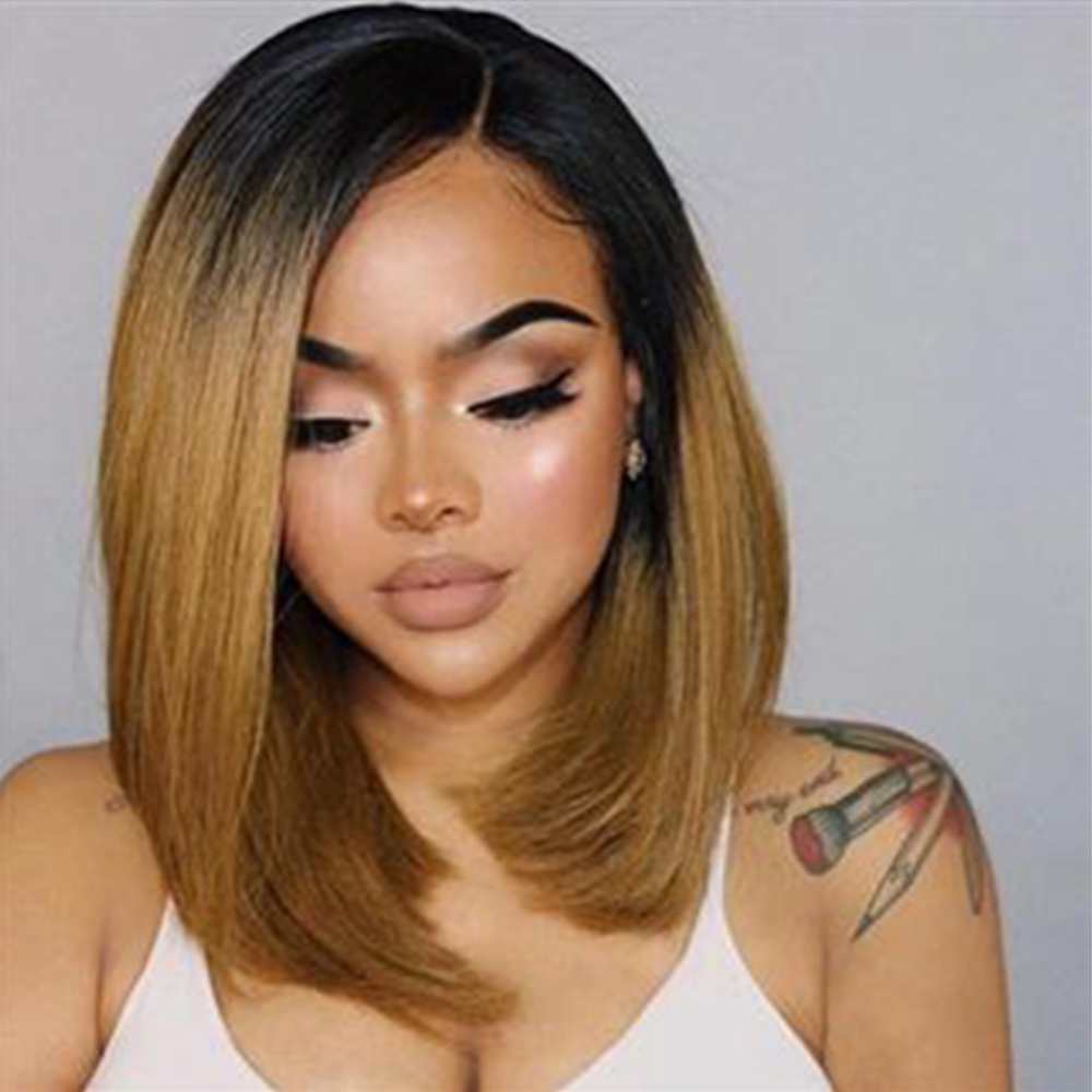 13*4 Synthetic Lace Front Wig Ombre Blonde  Invisible Color Silky Short Bob Lace Front Wigs For Black Women Bleached Knots