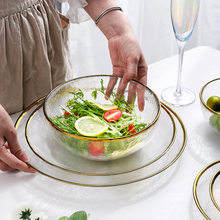 Phnom Penh Glass Plate Transparent Fruit Plate Household Creative Net Red Tableware Salad Bowl Large Nordic-Style Steak Plate