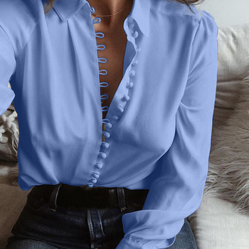 Women Tops and Blouses Plus Size Shirts for Office Ladies 2020 New Spring Long Sleeve Black White Blue Gray Casual Shirt Blusas 8