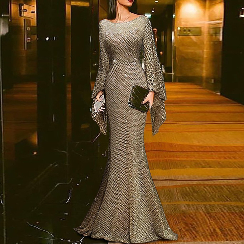 2020 New Slim Modern Mermaid Gold Evening Dress Long Sleeves Scoop Neck Sweep Train Prom Dresses New Formal Party Gowns