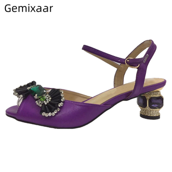 Genuine Leather Ankle Strap Summer Shoes Woman Candy Butterfly-knot Rhinestone Open Toe Jeweled Diamond Heel Sandals Women