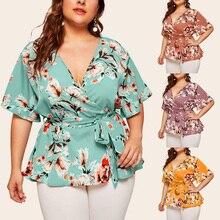 5XL Ladies Summer Print Plus Size Top V-neck Short Sleeve Waist Loose Office Solid Chiffon Top T-shirt Short Sleeve Shirt