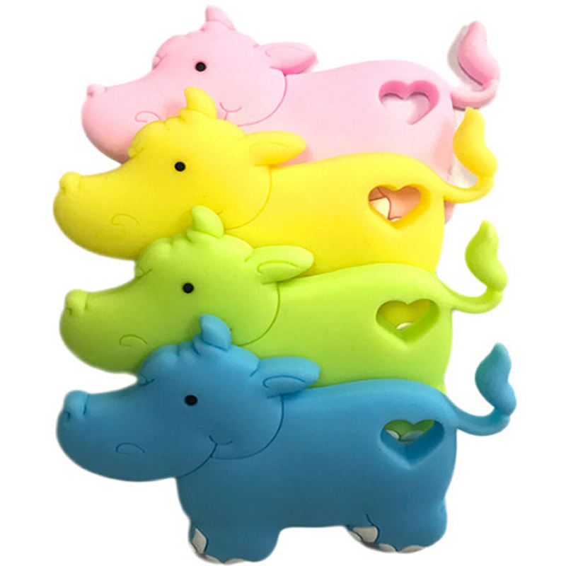 1PC Food Grade Silicone Hippo Teether Beads BPA Free For Baby Teething Chew Charms Necklace Pendant Toy Gift