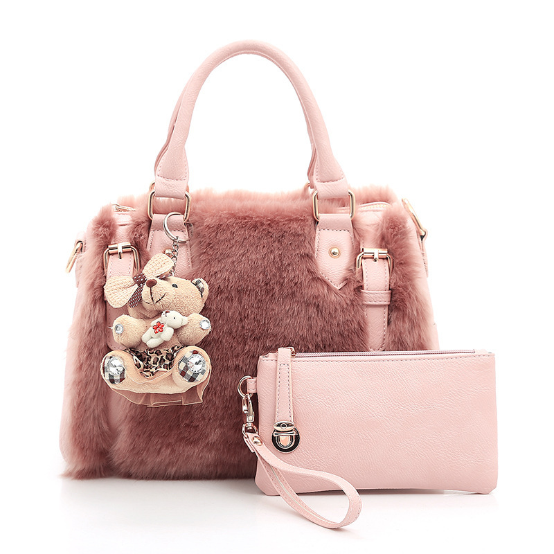 WOMEN'S Bag 2018 Europe And America New Style Rabbit Fur Picture-in-Bag Strap Bear Shoulder Bag Over-the-shoulder Bag Handbag Ma
