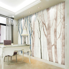 Wallpaper Dining-Room Mural Sofa Wood-Board Tv-Background-Wall Nordic 3D Hand-Painted