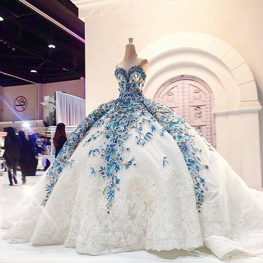 IMG809 Romantic Big Ball Gown Wedding Dress Blue Bride Dress Flower Fashionable Princess Bride Wedding Party Dubai Muslim Gowns