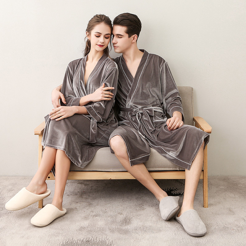 GRAY Chinese Female Autumn Winter Robe Gown Women Velvet Velour Sexy Nightwear Long Sleeve Couple Lovers Pajamas Kimono M XL 3XL