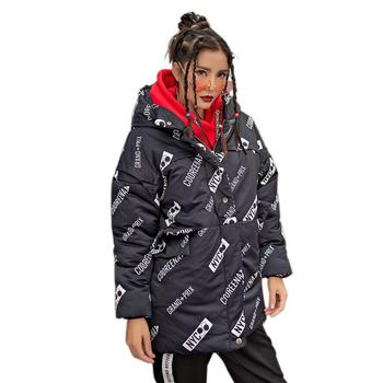 9 Styles Winter Jacket Coat Fashion Letter Print Women Parka Thick Warm Long Loose Hooded Snow Wear Cotton Padded Quilted Jacket цена 2017