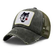 Light-Board Snapback Baseball-Cap Trucker-Cap Wolf Fashion Summer Adjustable with Roses