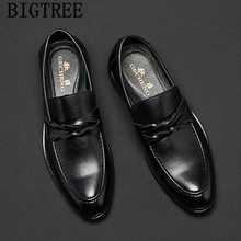 men leather shoes classic shoes men formal evening dresses italian mens dress shoes loafers Coiffeur sepatu pria kulit asli buty(China)
