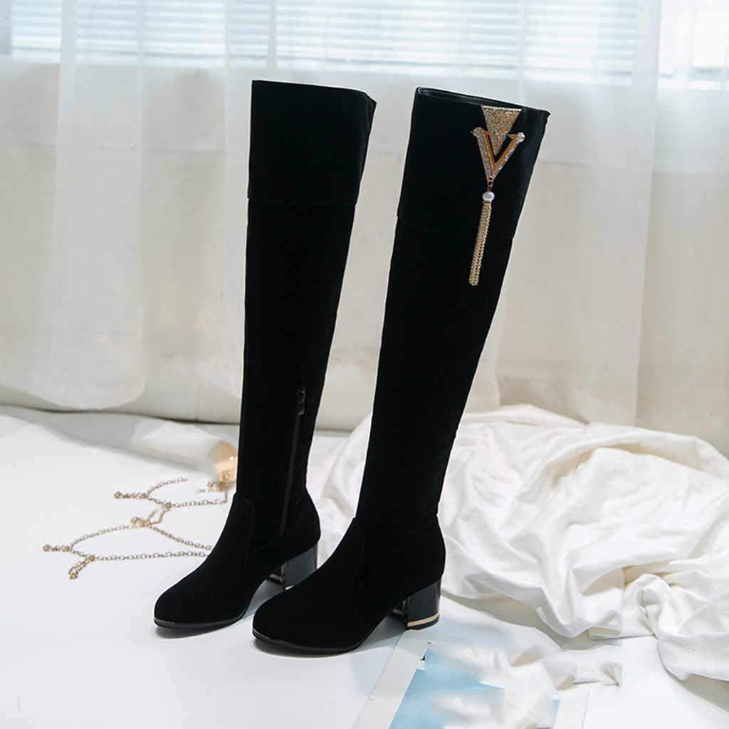 Femmes dames rétro sur le genou daim bottes longues noir augmenté chaussures à semelles compensées femme élégant Tube chevalier bottes chaussures femme