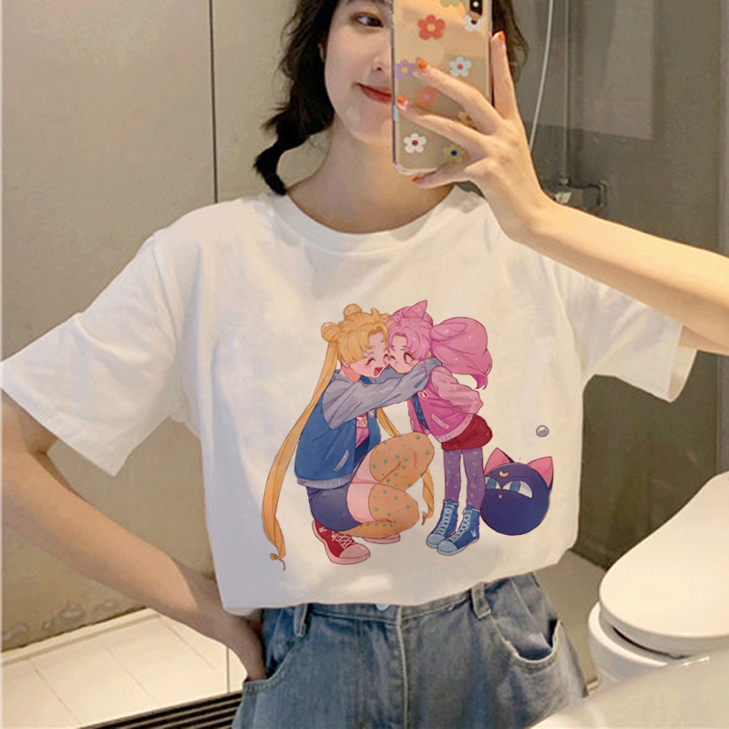Kawaii Сейлор Мун Харадзюку футболки женские Ullzang корейский стиль Милая футболка 90s Эстетическая футболка Графический Забавный топ тройники