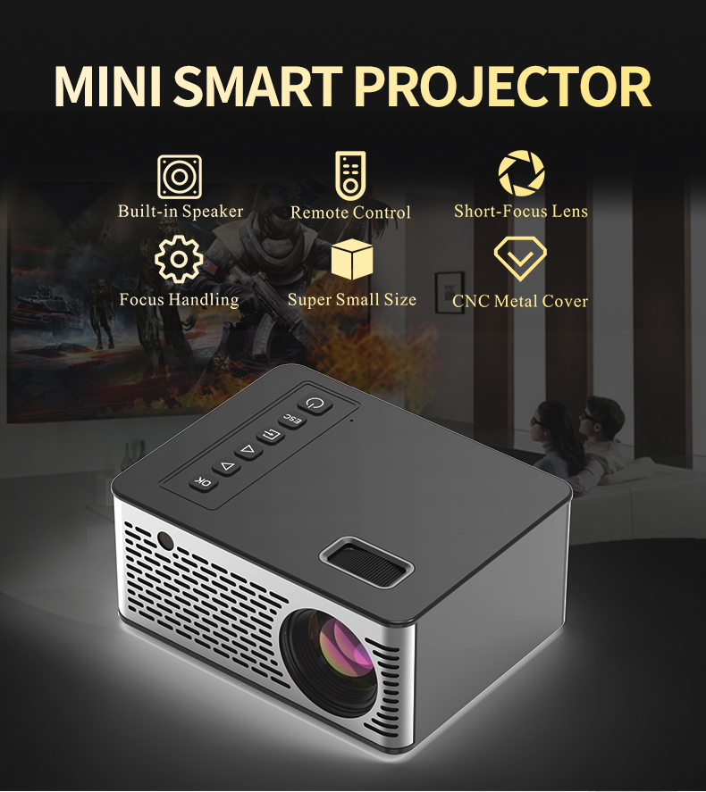 Mini Micro LED Cinema Portable Video HD USB HDMI Projector For Home Theater Short Focus Design T200 Transmission Screen