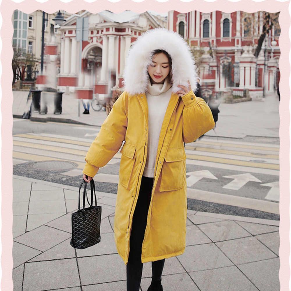 Chaqueta de invierno a prueba de viento abrigo femenino nueva ropa de invierno en 2019 con cuello de pelo grande piel de melocotón suelta y abajo 8821