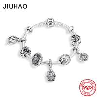 Authentic 925 Sterling Silver Crown pendant Heart Shape Charms Bracelets Bangle womens accessories Jewelry Gift