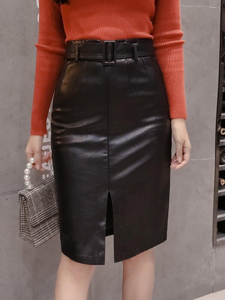 Купить женская юбка с поясом из пу кожи элегантная черная средней длины