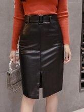 Женская юбка с поясом из ПУ кожи Элегантная черная средней длины